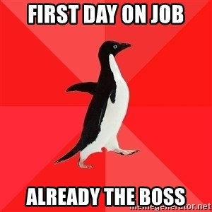 Socially Awesome Penguin - first day on job already the boss