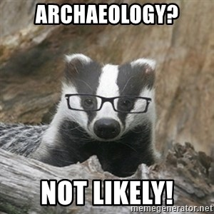 Nerdy Badger - Archaeology? Not likely!