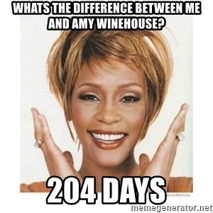Whitney Houston - whats the difference between me and amy winehouse? 204 days