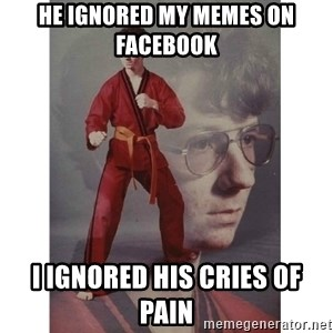 Karate Kid - he ignored my memes on facebook i ignored his cries of pain