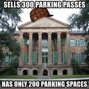 Scumbag College - sells 300 parking passes has only 200 parking spaces
