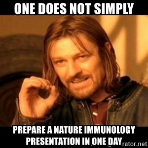 Does not simply walk into mordor Boromir  - One does not simply Prepare a nature immunology presentation in one day