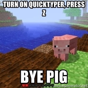 Minecraft PIG - turn on quicktyper, press z bye pig