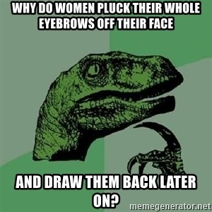 Philosoraptor - Why do Women pluck their whole eyebrows off their face And draw them back later on?