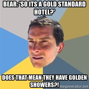 Bear Grylls - bear: 'so its a gold standard hotel?' Does that mean they have golden showers?!