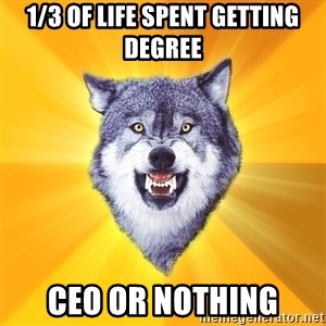 Courage Wolf - 1/3 of life spent getting degree ceo or nothing