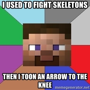 Minecraft-user - I used to fight skeletons Then I Toon An Arrow To The Knee