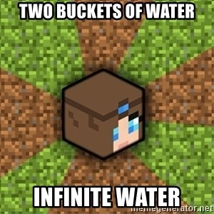 Minecraft Logic - Two buckets of water infinite water