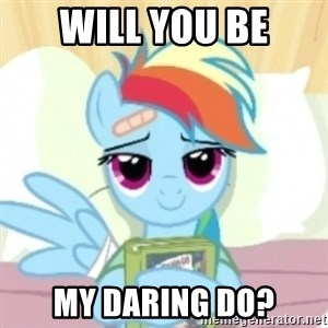 Cute Book Holding Rainbow Dash - Will you be my daring do?