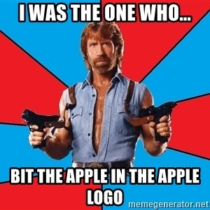 Chuck Norris  - i was the one who... bit the apple in the apple logo