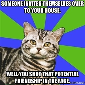 Introvert Cat - Someone invites themselves over to your house. Well you shot that potential friendship in the face.