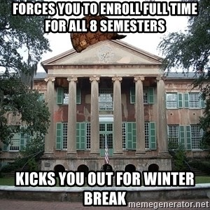 Scumbag College - forces you to enroll full time for all 8 semesters kicks you out for winter break