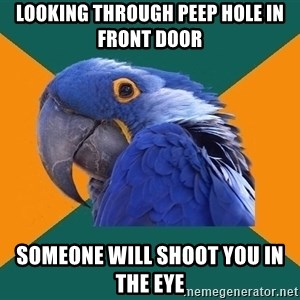 Paranoid Parrot - Looking through peep hole in front door someone will shoot you in the eye