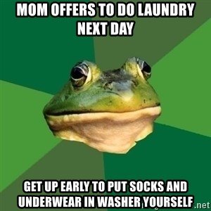 Foul Bachelor Frog - mom offers to do laundry next day get up early to put socks and underwear in washer yourself