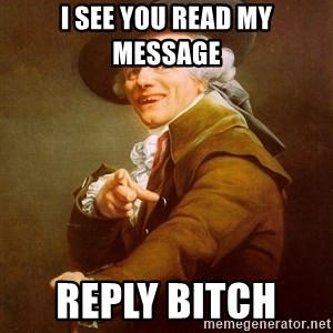 Joseph Ducreux - i see you read my MESSAGE  reply bitch
