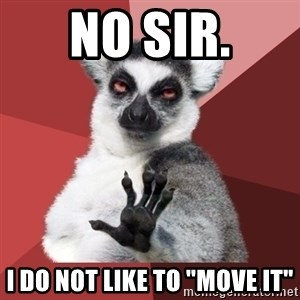 """Chill Out Lemur - no sir. i do not like to """"move it"""""""