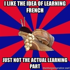French Student Snail - I like the idea of learning french just not the actual LEARNING part