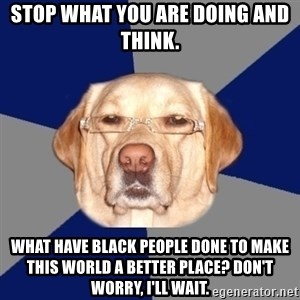 Racist Dawg - Stop what you are doing and think. what have black people done to make this world a better place? Don't worry, I'll wait.