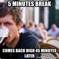 The Lazy College Senior - 5 minutes break comes back high 45 minutes later