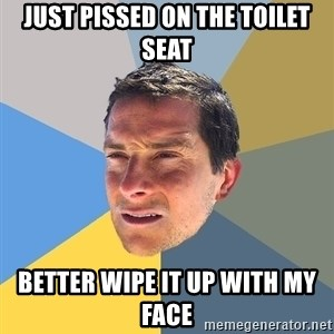 Bear Grylls - just pissed on the toilet seat better wipe it up with my face