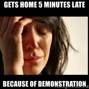 First World Problems - gets home 5 minutes late because of demonstration