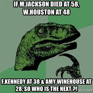 Philosoraptor - if M.jackson died at 58, w.houston at 48 f.kennedy at 38 & Amy Winehouse at 28, so who is the next ?!
