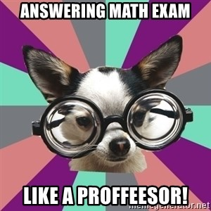 Typical_Foureyes - answering math exam like a proffeesor!