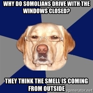 Racist Dawg - Why do Somolians drive with the windows closed? They think the smell is coming from outside