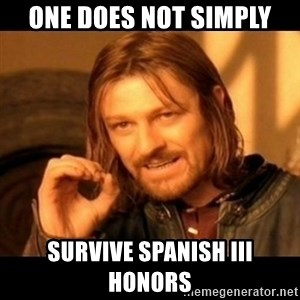 Does not simply walk into mordor Boromir  - one does not simply survive spanish iii honors