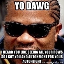Xzibit - YO DAWG I HEARD YOU LIKE SEEING ALL YOUR ROWS SO I GOT YOU AND AUTOHEIGHT FOR YOUR AUTOHEIGHT