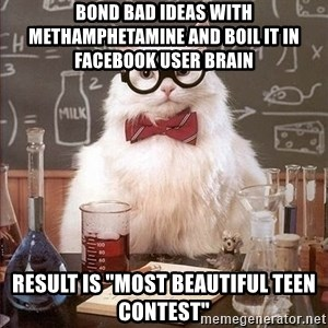 "Chemistry Cat - Bond Bad ideas with Methamphetamine and boil it in facebook user brain result is ""most beautiful teen contest"""