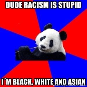 Polisci Panda - dude Racism is stupid I´m black, white and Asian