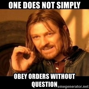 Does not simply walk into mordor Boromir  - one does not simply obey orders without question