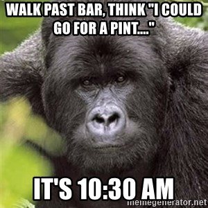 "Grad Student Gorilla - Walk Past bar, think ""I could go for a Pint...."" It's 10:30 AM"