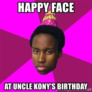 Happy Birthday Black Kid - happy face at uncle kony's birthday