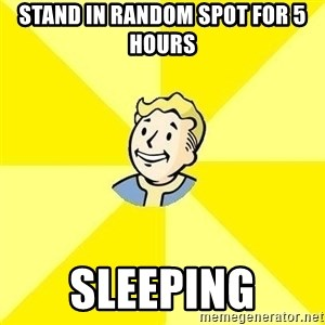 Fallout 3 - stand in random spot for 5 hours sleeping