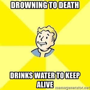Fallout 3 - drowning to death drinks water to keep alive