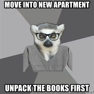 Lit Major Lemur - Move into new apartment unpack the books first