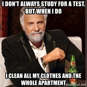 The Most Interesting Man In The World - i don't always study for a test, but when i do i clean all my clothes and the whole apartment