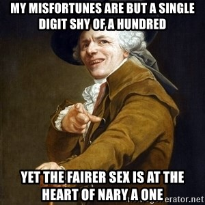 Joseph Ducreaux - My misfortunes are but a single digit shy of a hundred yet the fairer sex is at the heart of nary a one