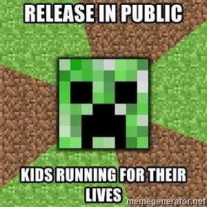 Minecraft Creeper - release in public kids running for their lives