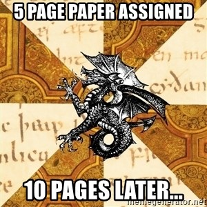 History Major Heraldic Beast - 5 page paper assigned 10 pages later...