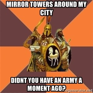 Age of Empires '97 - mirror towers around my city didnt you have an army a moment ago?