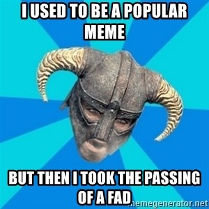 skyrim stan - I used to be a popular meme but then I took the passing of a fad