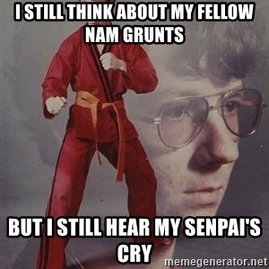 PTSD Karate Kyle - i still think about my fellow nam grunts but i still hear my senpai's cry