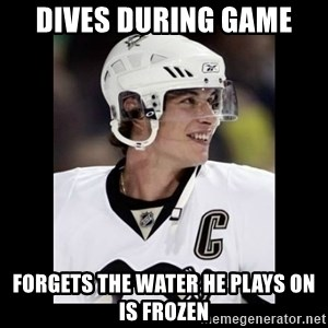 sidney crosby - DIVES DURING GAME FORGETS THE WATER HE PLAYS ON IS FROZEN