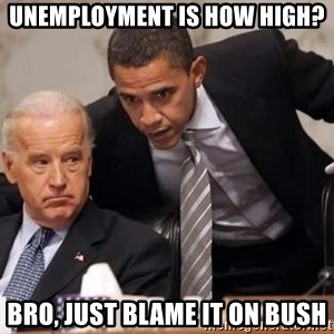 Obama Biden Concerned - unemployment is how high? bro, just blame it on bush