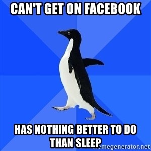 Socially Awkward Penguin - can't get on facebook has nothing better to do than sleep