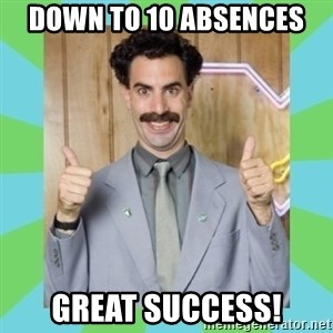 Great Success! - Down to 10 absences Great success!