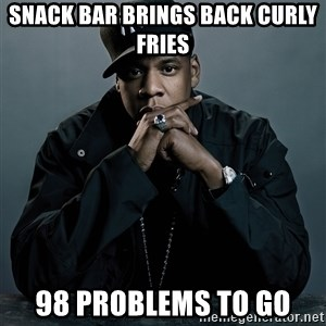 Jay Z problem - snack bar brings back curly fries 98 problems to go
